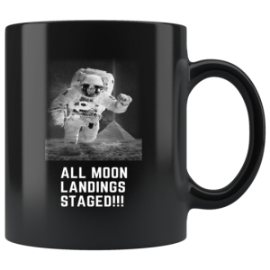 Staged Moon Landing Black Mug